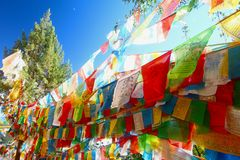 The Colorful prayer flag at Shangri-La, formerly known as Zhongdian County, is the capital of Diqing Autonomous Prefecture.Yunan, Stock Photography