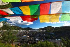 The Colorful prayer flag at Shangri-La, formerly known as Zhongdian County, is the capital of Diqing Autonomous Prefecture.Yunan, Royalty Free Stock Photo