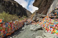 Colorful prayer flag at Yading national reserve Royalty Free Stock Image
