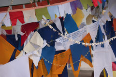 Colorful prayer flags. Attached to a clothes line royalty free stock image
