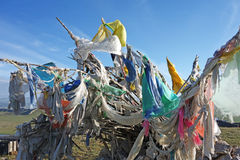 Colorful prayer flags(Jingfan) under blue sky Stock Photography