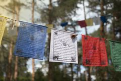 Colorful prayer flags lungta/darcho of Buddhist philosophy. With mantra and butterfly in the wind. Soft focus with bokeh stock photos