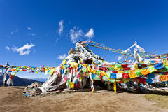 Colorful prayer flags and snow mountain Stock Photography