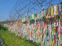 Colorful prayer ribbons at Imjingak Park near DMZ or demilitarized zone. stock image