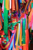 Colorful Prayer Ribbons tied to the Wish Tree Stock Photo