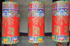 Colorful prayer wheels Royalty Free Stock Photos