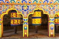 Colorful prayer wheels in Bhutan Royalty Free Stock Images