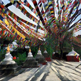 Colorful praying flags in Nepal over white stupas - buddhist religious buildings. Royalty Free Stock Image