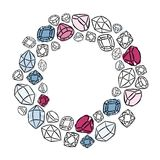 Colorful precious stones wreath Royalty Free Stock Images