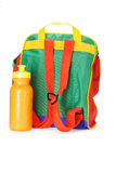 Colorful preschooler backpack and water container. Colorful preschooler backpack and plastic water container on white background Royalty Free Stock Images