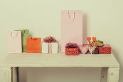 Colorful present boxes, bags and hearts for valentines day Royalty Free Stock Images