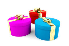 Colorful present boxes on white background. For special occasion Royalty Free Stock Image