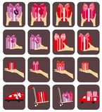 Colorful Present and Delivery Car shipping vector icons collection. Stock Photography