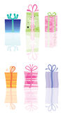 Colorful present icons. Illustration of six different colorful wrapped present icons with reflections, isolated on white background Stock Images