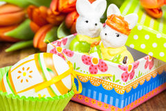 Colorful  present and orange  tulips-easter decoration Stock Image