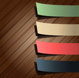 Colorful presentations sticker on wood Royalty Free Stock Image