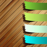 Colorful presentations sticker on wood Royalty Free Stock Photography