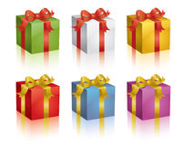 Colorful presents. Set of colorful shiny  gift boxes Royalty Free Stock Images