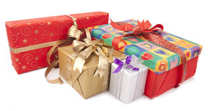 Colorful presents. Group of colorful gift-boxes  on a white background Royalty Free Stock Image