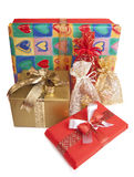 Colorful presents. Group of colorful gift-boxes  on a white background Royalty Free Stock Photos