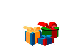 Colorful presents. Colorful Christmas or birthday present boxes isolated on white Royalty Free Stock Images