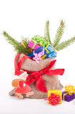 Colorful presents with green fir Stock Photos