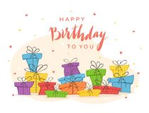 Colorful Presents and Lettering Happy Birthday To You royalty free illustration