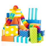 Colorful presents with paper chain Royalty Free Stock Photo