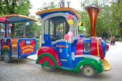 Colorful,pretty train. In park a train for children,vivid colours Stock Photography