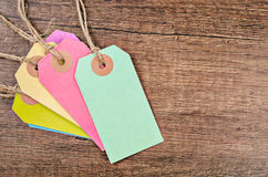Colorful of price tag or labels. Colorful of price tag or labels on the wooden background Stock Image