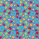 Colorful princess background. Colorful seamless pattern with princess accessories Stock Photos