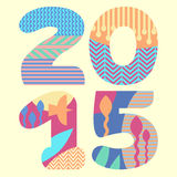 Colorful print with number 2015. Vector illustration with patterned number vector illustration