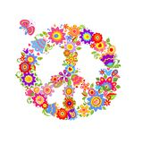 Colorful print with peace flower symbol Stock Photography
