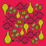 Colorful print with river fish and flowers. Vector illustration in retro style Stock Images