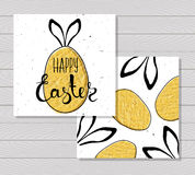 Colorful printable card for Easter with Easter eggs and rabbit ears on wooden background. Vector Stock Photography
