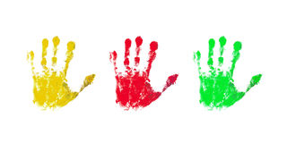 Colorful prints of children hands Royalty Free Stock Photography