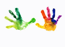 Colorful prints of childrens handprints Stock Images