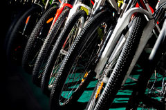 Colorful professional bycicles for outdoor off-road cycling Royalty Free Stock Photography