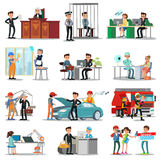 Colorful Professions And Occupations Collection. With people in different professional situations isolated vector illustration Stock Photography