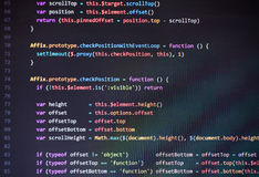 Colorful programming php and html code on a monitor. Royalty Free Stock Photo