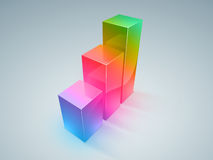 Colorful progress. Colorful column histogram displays stable progress and success Stock Photo