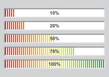 Colorful progress bars. Colorful software installation progress bars at different stages