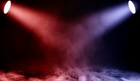 Colorful projector. Spotlight stage with smoke on the floor . Isolated background texture vector illustration