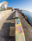 Colorful promenade in Pomorie, Bulgaria Stock Images