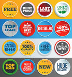 Colorful promo labels and stickers. Sixteen different round labels and buttons with text. EPS10 Stock Illustration