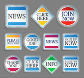Colorful promo stickers. Set of labels with self-adapting shadows. EPS10 Stock Photos