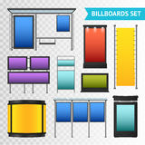 Colorful Promotional Billboards Set. With various displays and boxes  on transparent background vector illustration Royalty Free Stock Image
