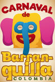 Colorful Promotional Poster with Festive Marimonda Head for Barranquilla`s Carnival, Vector Illustration Royalty Free Stock Images