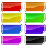 Colorful promotional stickers. Colorful promotional rectangle stickers with peeling corner Royalty Free Stock Photo
