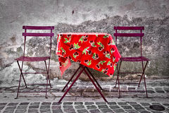 Colorful provencal table in a street Stock Image